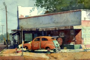 """""""West Texas Town"""" by Richard Sneary, Watercolor, 14in. x 10in."""